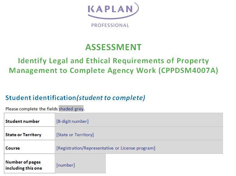CPPDSM4007A Identify Legal And Ethical Requirements Of Property Management