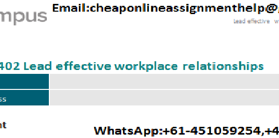 BSBLDR402 Lead Effective Workplace Relationship