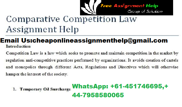 COMPETITION CONSUMER LAW ASSIGNMENT HELP